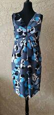Fenn wright manson petite silk&cotton shift dress acetate floral blue size14