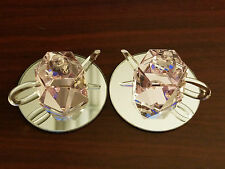 2 Dollhouse Miniatures Glass Purple Teapot with Handle & Bottom Mirror L03031