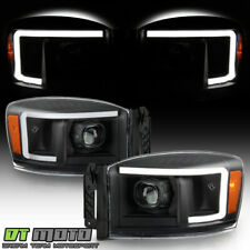 2006-2008 Dodge Ram 1500 2500 3500 Pickup Black LED Tube Projector Headlights