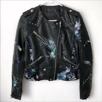 Blank NYC Vegan Faux Leather Floral Moto Jacket Black Studs NEW XS MSRP $168