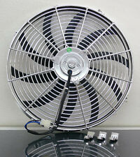 """16"""" Chrome Universal Super Thin Electric Cooling Fan, Reversible - 12V"""
