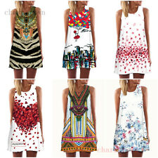 Summer Casual Women Beach Charm Printed round neck Sleeveless Party Loose Dress