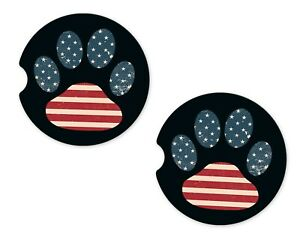 USA Dog Paw Rubber Car Coasters For Drinks Absorbent Car Cup Holder   SET OF 2