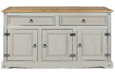 Premium Corona Grey Washed Medium Sideboard in Solid Pine with Dovetail Joints