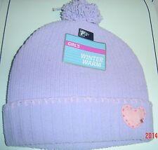 Knit Hat Purple Pink Heart Tassel Cap Winter Beanie Girl One Size 4 - 7