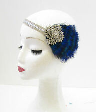 Silver Peacock Feather Headpiece 1920s Headband Flapper Great Gatsby Blue 842