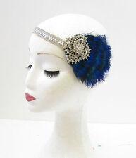 Silver Peacock Feather Headpiece 1920s Headband Flapper Great Gatsby Blue 842