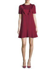 RED VALENTINO - Envers Satin Crepe Ruffle Red Dress size 12 US / 48 FR NEW $595