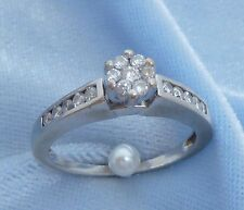 Vintage 14K White Gold Ring  with 17 Diamonds, TCW .45  Size 7.5