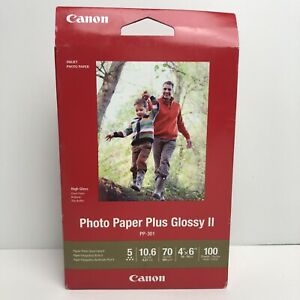 "Canon PP-301 Photo Paper Plus Glossy II (4 x 6"", 100 Sheets)  New"