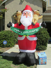 8 FT LIGHTED GEMMY SANTA CLAUS REINDEER AIRBLOWN CHRISTMAS SIGN INFLATABLE YARD