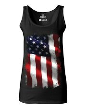 Large American Flag Patriotic Women's Tank Top 4th of July USA Flag Tee