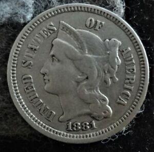1881 US Copper-Nickel Three Cent Piece - Post Civil War Era