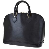 Authentic LOUIS VUITTON LV Alma Hand Bag Epi Leather Noir France M52142 39BS164