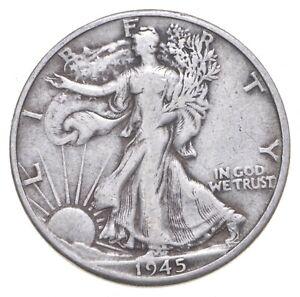 XF+ 1945-D Walking Liberty 90% Silver US Half Dollar - NICE COIN *494