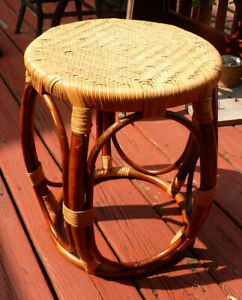 Bent Wood Ottoman Stool Cane Herringbone Seat