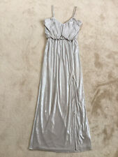 H&M Stunning Silver Drape Strappy Thigh Front Slit Maxi Dress Size EUR38 UK10