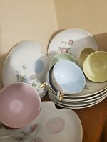 Lefton China Hand Painted Set of Snack Plates & Teacups Green,Pink,Yellow,Blue