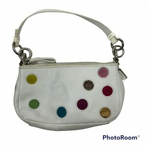 Coach Y2K Limited Edition Mini Dot White Leather Demi Soho Baguette Bag Purse