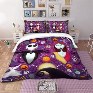 3D Skull Duvet Cover The Nightmare Before Christmas Bedding Set Pillow Cases New