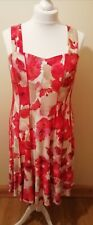 Ladies Floral Dress By Roman. Size 16. Red. Holiday, Wedding, Cruise, Guest.