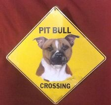 """Pit Bull Terrier Crossing Metal Sign - 12"""" x 12"""" - Sealed"""