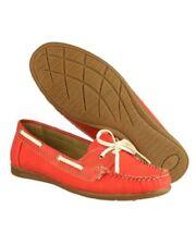 Zapatos planos de mujer mocasines de piel color principal rojo
