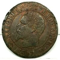 France Napoleon III Bronze 1857 B  5 Centimes Coin. KM# 777.2