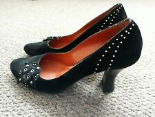 Ladies high heel black studded suede shoes. Size 37 UK 4 Made in Italy.
