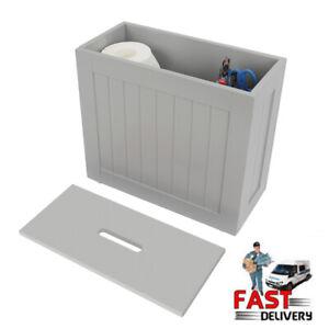 Grey/White Bathroom Storage Box Toilet Roll Cleaning Tidy Storage Cabinet Unit