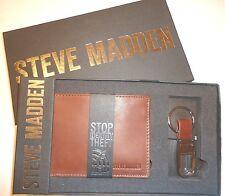 Men's RFID Wallet Bifold Genuine Leather + Key Fob Gift Set, Brown