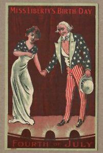 July 4th, Miss Liberty & Uncle Sam Shaking Hands, 1910 era Patriotic Postcard