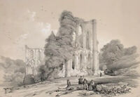 Original Lithograph Antique Print Of Rievaulx And Kirkham Abbeys By Richardson