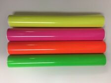 "4 Rolls Fluorescent Vinyl Yellow Pink Green Orange 12"" x 5 Feet Total 20 Feeet"