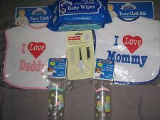 Decorative Baby Bottles Love Mommy Daddy Bibs Manicure Wipes Feeding NEW!