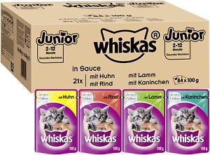 Whiskas Junior 2-12 Monate Katzenfutter Nassfutter in Sauce 84 x 100g