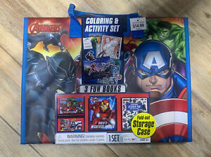Avengers Coloring Book & Activity Set w/ Tri-Fold Storage Case NEW