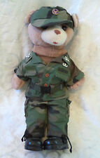 US Air Force Military Colonel Stuffed Animal Plush Bear in BDU Green Camouflage