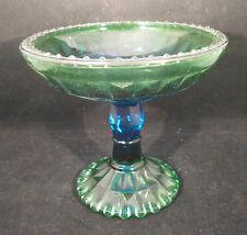 """Jeannette Windsor Diamond Flashed Green Compote or dish 5 1/2"""" tall"""
