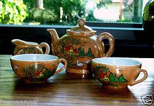 Vintage Flash Glaze Porcelain Doll Dishes Cottage Tea Set Pretend