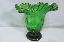"Vintage Beautiful Studio Art Glass Dot Thumbprint Green Vase Crimped Top 7 5/8"""