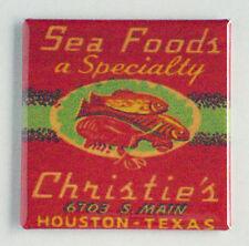 Christie Sea Food FRIDGE MAGNET (2 x 2 inches) fish Houston Texas
