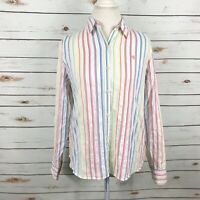 Ralph Lauren Rainbow Striped Shirt Button Down Womens Size L Cotton Vtg LRL