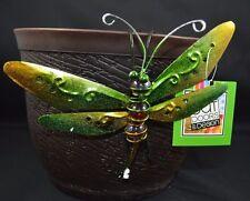 New listing Dragonfly Green Yellow Sitter Hanger Huggers Garden Flower Pot Percher Statue
