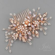 Bridal Hair Comb Pink Crystal Headpiece Clip Wedding Accessory 04241 Rose Gold