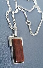 """Vintage Avon Silver & Wood Necklace 1979 Brown Excellent Condition 20"""" Chain"""