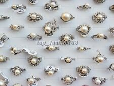 Wholesale Lots Wedding Party 5PCS Pearl Rhinestone Silver P Rings FREE