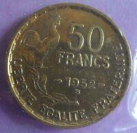 50 Francs G Guiraud 1952 B : TB : pièce de monnaie Française N40