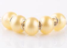 NEW 5pcs silver pearl Lemon spacer beads fit Charm European Bracelet DIY A#926