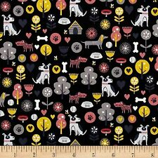 Patch Dogs Allover 100% Cotton Fabric  by Makower  FQ 50cm x 55cm
